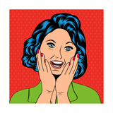 Pop Art Illustration of a Laughing Woman Posters by Eva Andreea