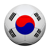 South Korean Flag with Soccer Ball Poster by  emrCartoons