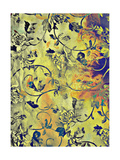 Abstract Textured Background with Blue and Floral Brown Patterns on Yellow Backdrop Art by  iulias