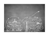 Chalk Drawn Business Plan Sketch Prints by Sergey Nivens