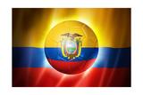Soccer Football Ball with Ecuador Flag Prints by  daboost
