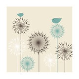 Vintage Background with Birds and Flowers Premium Giclee Print by  mcherevan