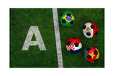Soccer Balls with Flags of Brazil, Mexico, Cameroon, Croatia Art by  BarbraFord