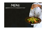 Chef with Healthy Salad Food on Chalk Blackboard Menu Background Prints by  alistaircotton