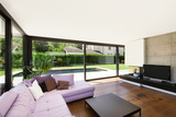 Modern Villa, Interior, Wide Living Room with Pink Divan Photographic Print by  zveiger