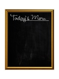Golden Picture Frame Chalkboard Blackboard Used as Today's Menu Prints by  MarjanCermelj