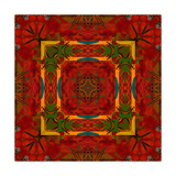 Art Nouveau Geometric Ornamental Vintage Pattern in Orange, Green and Red Colors Posters by Irina QQQ