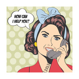 Woman Chatting on the Phone, Pop Art Illustration Posters by Eva Andreea
