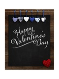 Happy Valentine's Day Chalkboard with Love Message and Red Heart in Corner Art by  MarjanCermelj