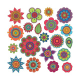 Collection of Doodle Style Flowers or Mandalas Premium Giclee Print by Pink Pueblo