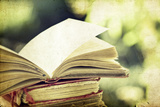 Vintage Photo of Old Books on Colorful Bokeh Background Posters by  melis