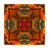 Art Nouveau Geometric Ornamental Vintage Pattern in Orange, Green and Red Colors Prints by Irina QQQ