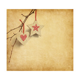 Christmas Decoration Hanging over Old Paper Background Poster by  A_nella