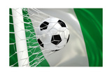 Nigeria Waving Flag and Soccer Ball in Goal Net Posters by  BarbraFord