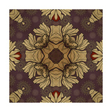 Art Nouveau Geometric Ornamental Vintage Pattern in Beige, Violet and Brown Colors Prints by Irina QQQ