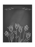 Card with Tulips on Chalkboard Print by  tukkki