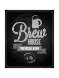 Beer Menu Design House Chalkboard Background Prints by  Pushkarevskyy