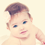 Cute Newborn Baby Girl Posing for Camera Prints by  melking