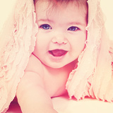 Cute Newborn Baby Girl Posing for Camera Posters by  melking