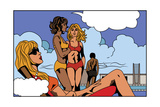 Pop Art Illustration of Girls on Beach Poster by  UltraPop