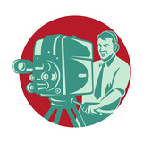 Cameraman Filming with Vintage Tv Camera Premium Giclee Print by  patrimonio