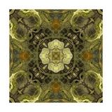 Art Nouveau Geometric Ornamental Vintage Pattern in Green Colors Premium Giclee Print by Irina QQQ