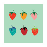 Strawberries in a Pop Art Style Premium Giclee Print by De Visu