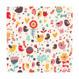 Romantic Floral Pattern with Cute Small Birds in the Garden Art by  smilewithjul