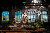 Abandoned Industrial Interior with Bright Light Fotodruck von  maroti