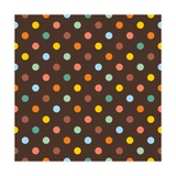 Pattern or Texture with Colorful Polka Dots on Dark Brown Background Poster by  IngaLinder