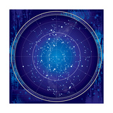 Celestial Map of the Night Sky Premium Giclee Print by  Green Ocean