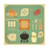Barbecue Menu BBQ Kunstdrucke von  elfivetrov
