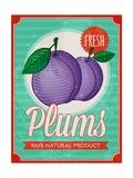 Vintage Styled Fresh Plums Affiches par  Marvid