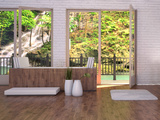 Tropical Bathroom Interior with Bathtub and Window with Landscape View Prints by  PlusONE