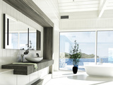 Modern White Bathroom Interior with Huge Windows and Scenic View Prints by  PlusONE