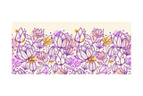 Purple Line Art Flowers Horizontal Pattern Border Prints by  Oksancia