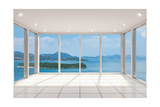 Empty Modern Lounge Area with Large Bay Window and View of Sea Print by  FreshPaint