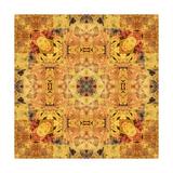 Art Nouveau Geometric Ornamental Vintage Pattern in Beige and Brown Colors Art by Irina QQQ