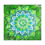 Abstract Green Painted Picture with Circle Pattern, Mandala of Anahata Chakra Prints by  shooarts