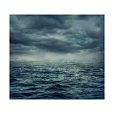 Rain over the Stormy Sea Premium Giclee Print by  egal
