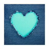 Turquoise Vintage Heart on Blue Denim Fabric Art by Anna-Mari West