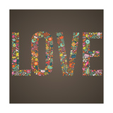 Love Word Made of Flowers, Birds and Leafs Poster by  smilewithjul