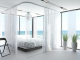 A White Bedroom Interior with Large Bed Prints by  PlusONE