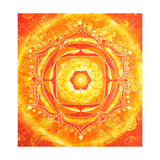 Abstract Orange Painted Picture with Circle Pattern, Mandala of Svadhisthana Chakra Reprodukcje autor shooarts