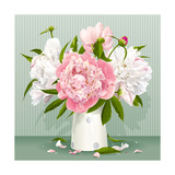 Pink and White Peony Bouquet Posters by  LisaShu