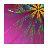 Beautiful Fractal Flower in Green and Yellow on Violet Background Prints by  velirina
