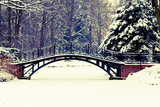 Winter Scene - Old Bridge in Winter Snowy Park Photographic Print by  Gorilla