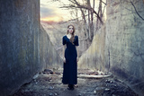 Beautiful Lonely Girl in Long Dress Photographic Print by  Gladkov