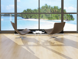 Two Lounge Chairs Against Huge Window with Seascape View Posters by  PlusONE