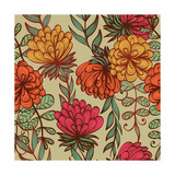 Hand Drawn Vintage Floral Pattern Print by  tairen